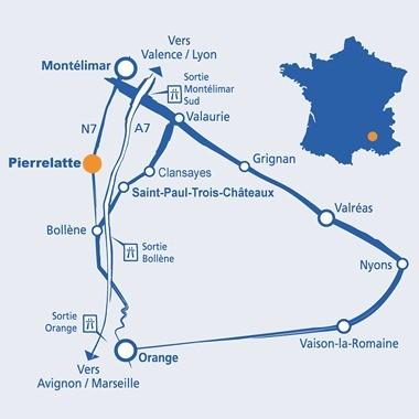 Plan permettant de localiser Pierrelatte