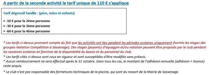 tarifs CNS Conditions Générales