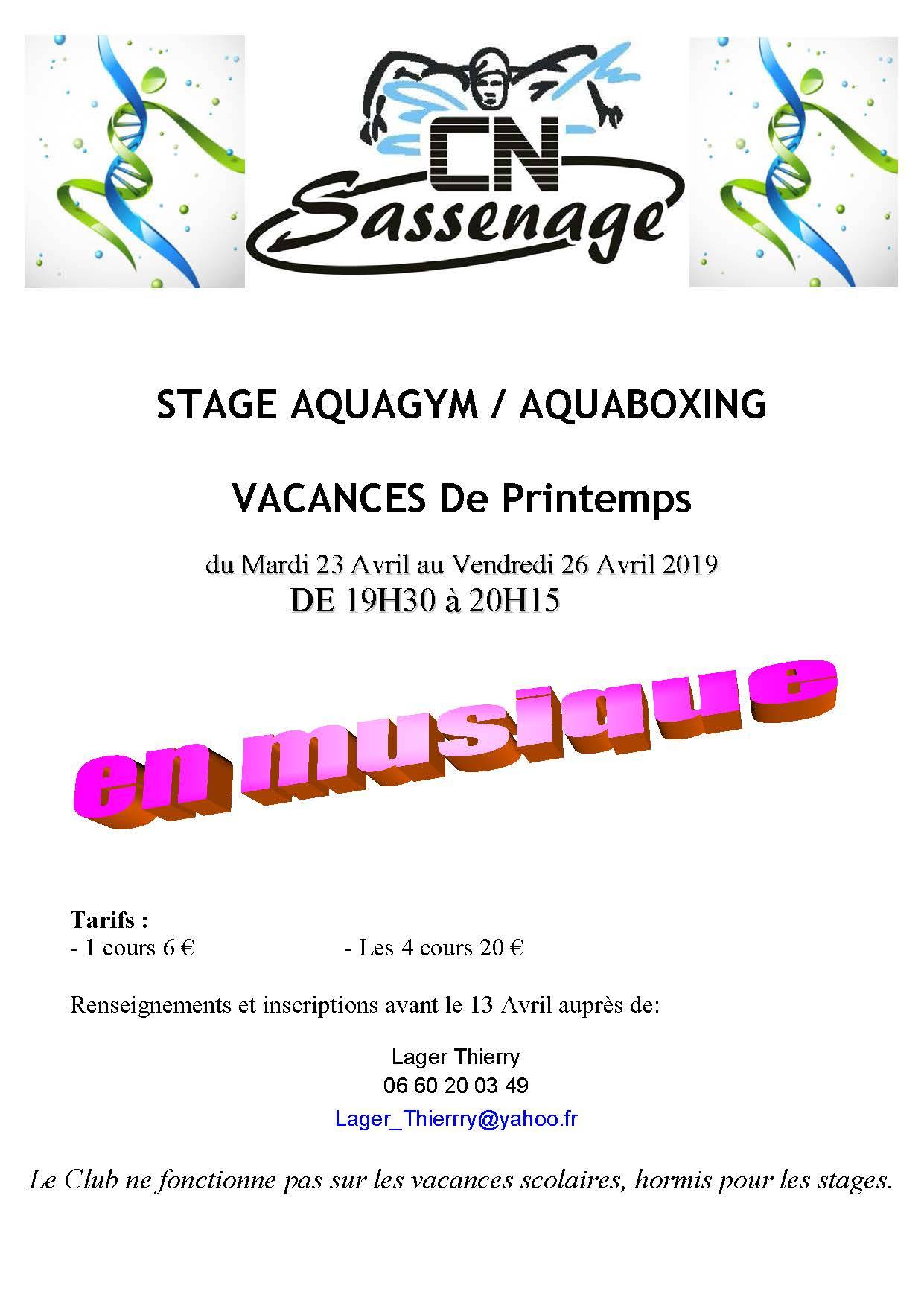 Aquagym/Aquaboxing printemps 2019