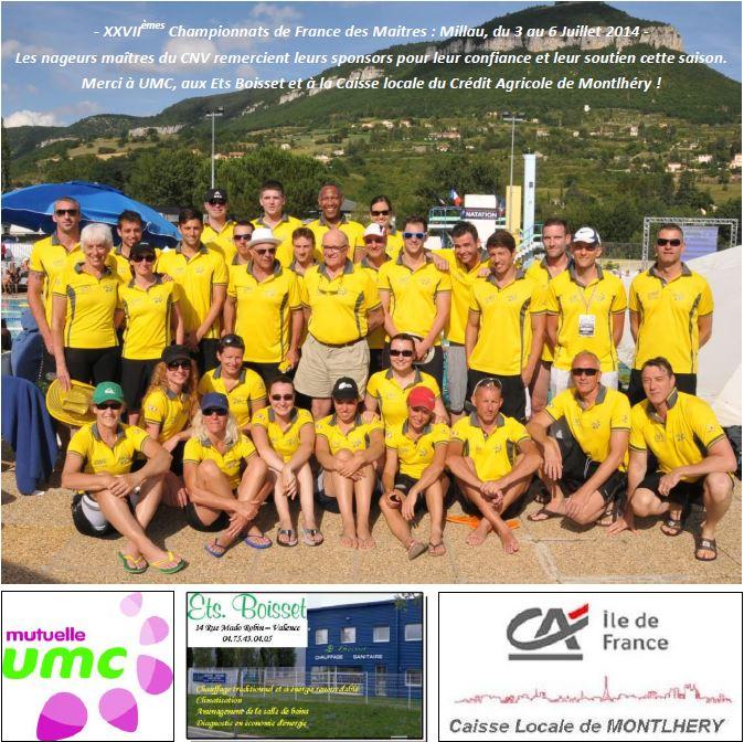 Le groupe Masters aux championnats de France de natation été 2014 à Millau
