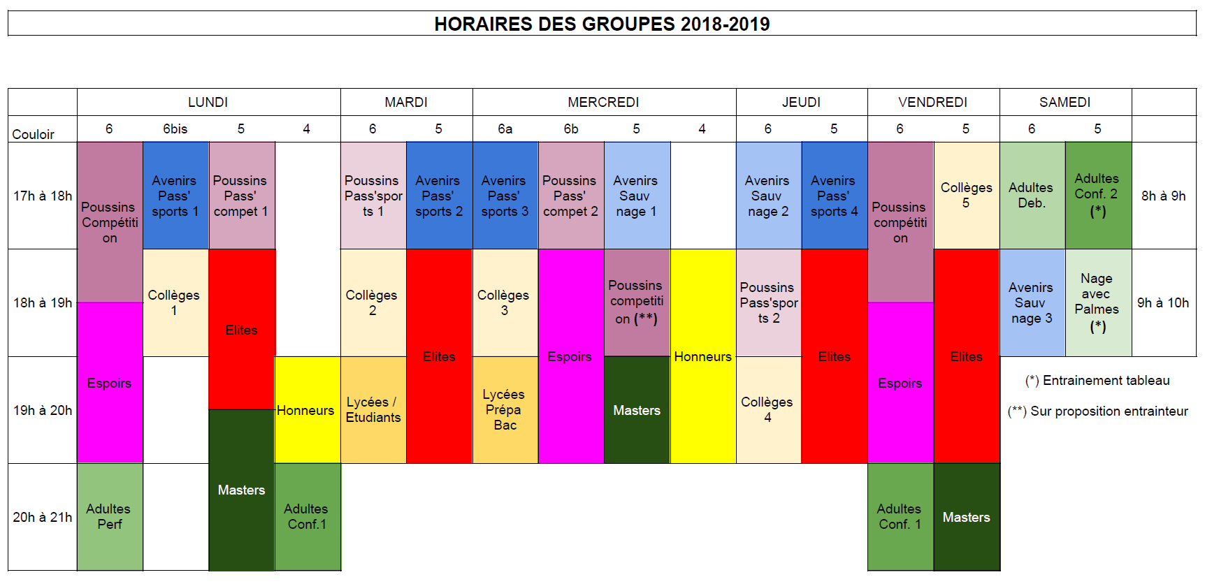 Horaires 2018