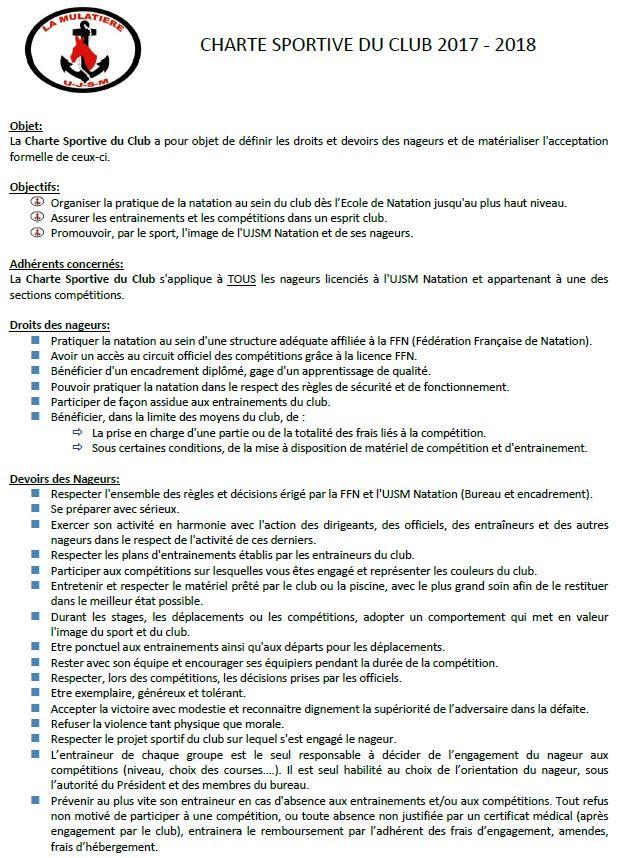charte sportive 2017 - 2018