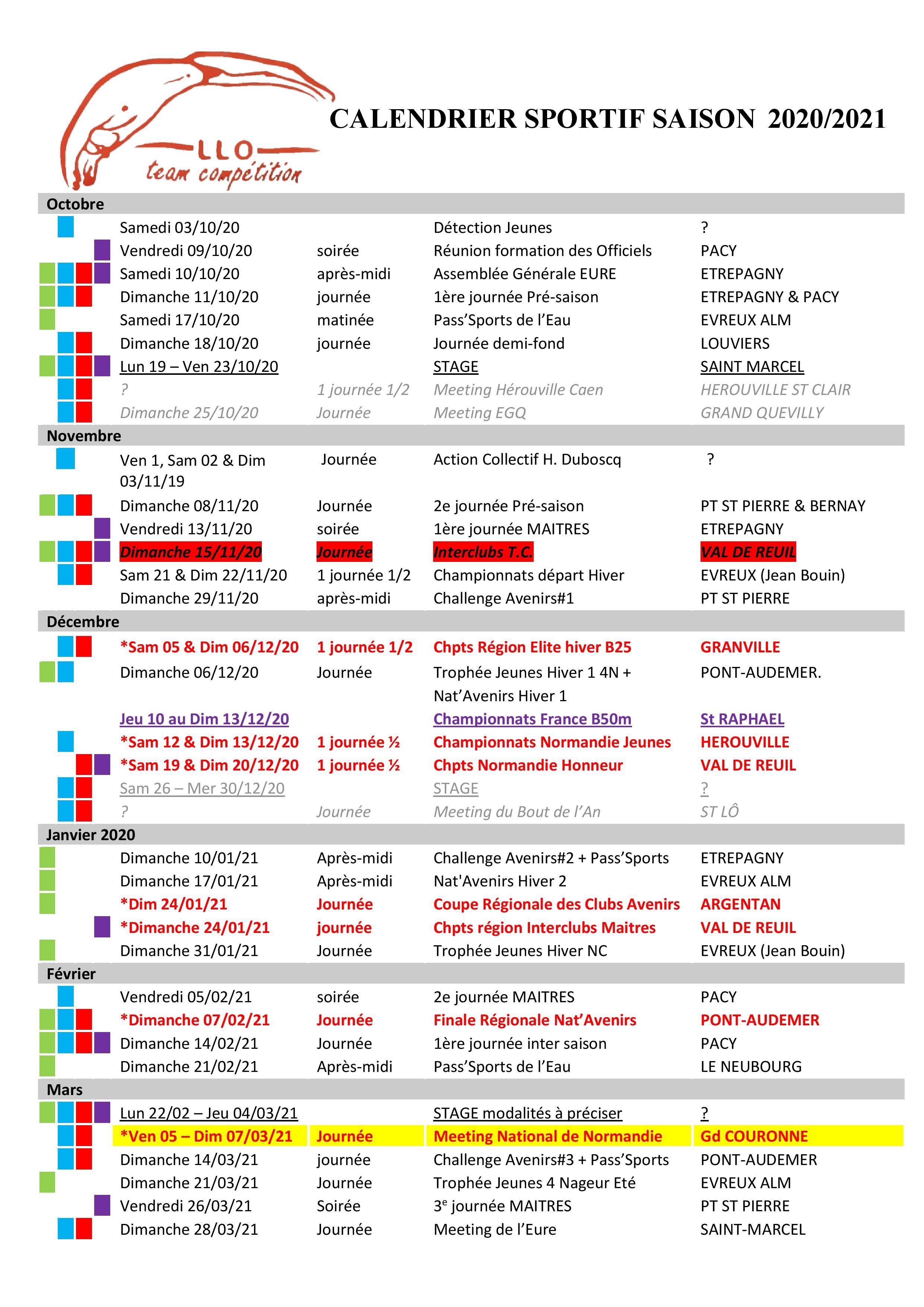 Calendrier Sportif 2021 L.L.O ST MARCEL   VERNON   Calendrier Sportif 2020 2021