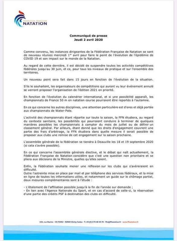 communiqué FFN 2 avril