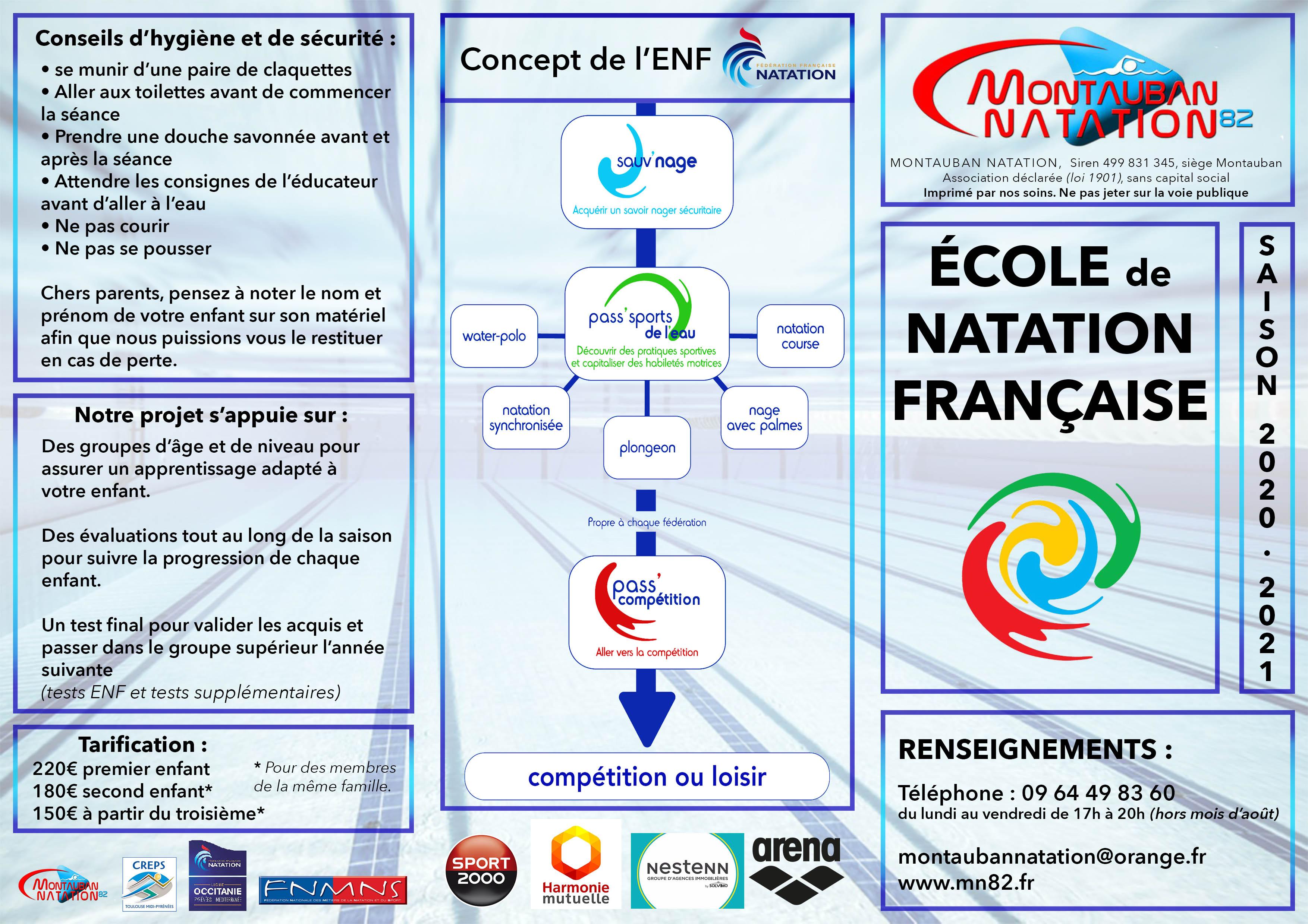 Flyer de présentation de l'École de Natation du MN82